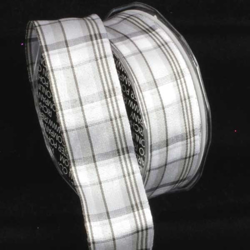 """Gray and White Plaid Wired Craft Ribbon 1.5"""" x 27 Yards - IMAGE 1"""