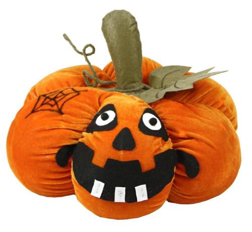 "15"" Orange LED Lighted Plush Jack-o-Lantern Pumpkin Halloween Decoration - IMAGE 1"