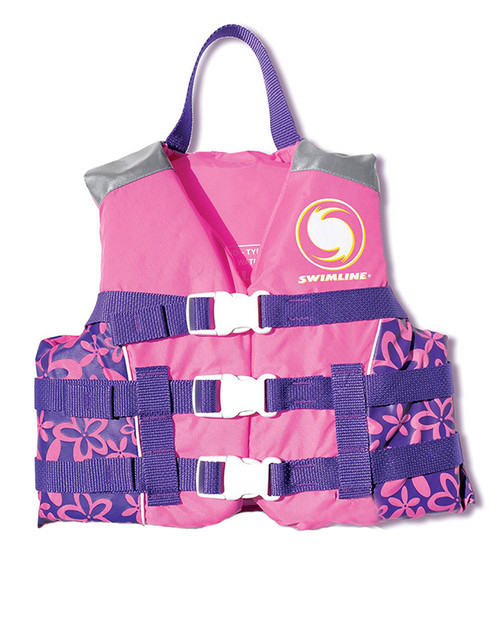"""15"""" Pink and Purple Floral Swimming Pool Vest Life Jacket - IMAGE 1"""