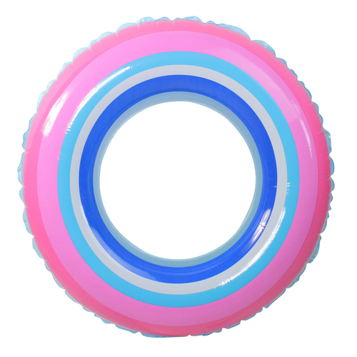 Inflatable Blue and Pink Stripe Swimming Pool Inner Tube Ring Float, 35-Inch - IMAGE 1