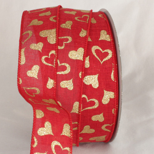 """Red and Gold Valentine Day Wired Craft Ribbon 1.5"""" x 40 Yards - IMAGE 1"""