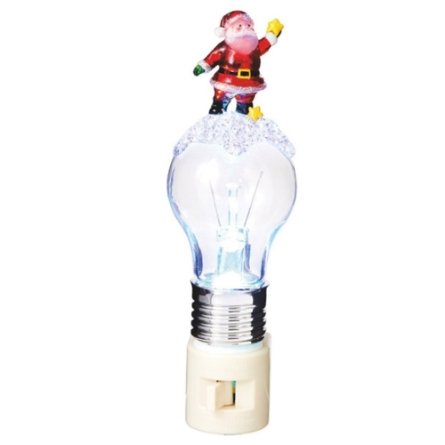 """6.5"""" Red Santa Claus and Stars on an LED Bulb Decorative Christmas Night Light - IMAGE 1"""