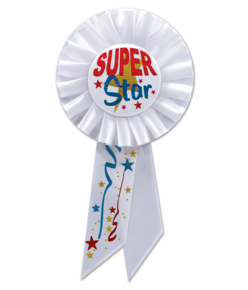 """Pack of 6 White """"Super Star"""" School and Sports Award Rosette Ribbons 6.5"""" - IMAGE 1"""