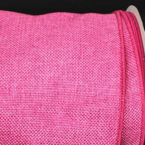 "Pink Fine Burlap Wired Craft Ribbon 6"" x 20 Yards - IMAGE 1"