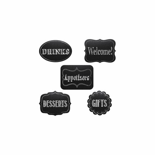 "5pc Black and White Chalkboard Themed Cutout Party Decorations 8"" - IMAGE 1"