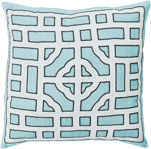 "22"" Blue and Cream White Square Throw Pillow - Down Filler - IMAGE 1"