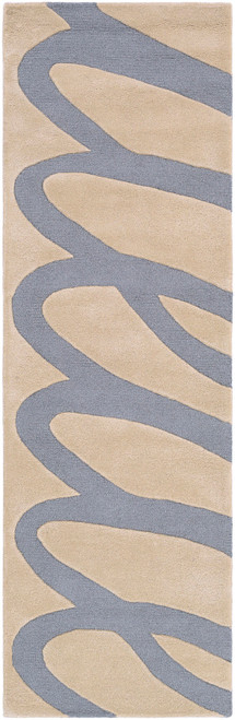 9' x 13' Blue and Brown Contemporary Hand Tufted Rectangular Area Throw Rug - IMAGE 1