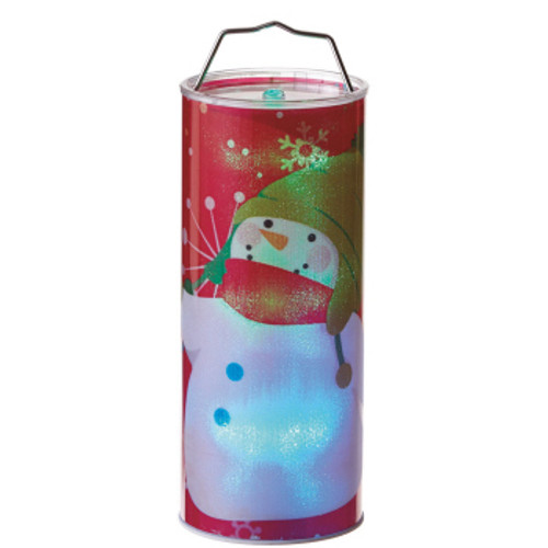 """12"""" Battery Operated Red LED Color Changing Snowman Christmas Lantern - IMAGE 1"""