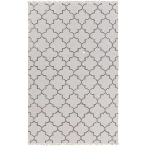8' x 10' Moroccan Charcoal Gray and Ivory Hand Woven Area Throw Rug - IMAGE 1