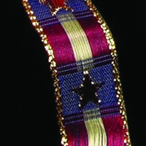 """Gold and Red Woven Wired Craft Ribbon 0.75"""" x 54 Yards - IMAGE 1"""