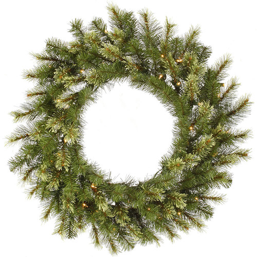 Pre-Lit Jack Pine Artificial Christmas Wreath - 36-Inch, Clear Lights - IMAGE 1