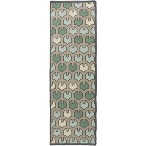 2.5' x 8' Green and Blue Hand Woven Rectangular Wool Area Throw Rug Runner - IMAGE 1