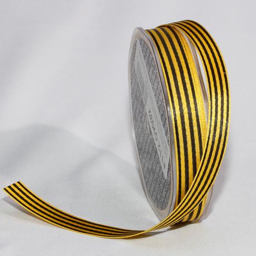 "Yellow and Black Stripe Craft Ribbon 0.50"" x 162 Yards - IMAGE 1"