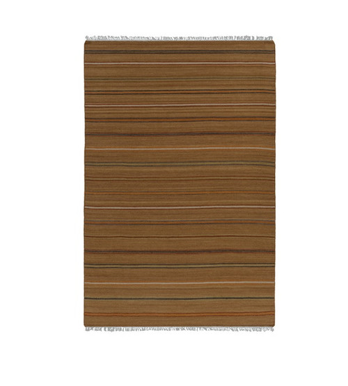 6' x 9' Brown and Blue Striped Hand Woven Rectangular Area Throw Rug - IMAGE 1