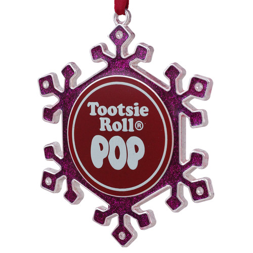 """3.5"""" Silver Plated Pink Snowflake Tootsie Roll Pop Candy Logo Christmas Ornament with European Crystals - IMAGE 1"""