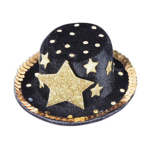 Club Pack of 12 Black and Gold Top Hat Hair Clip Party Favor Costume Accessories - One Size - IMAGE 1