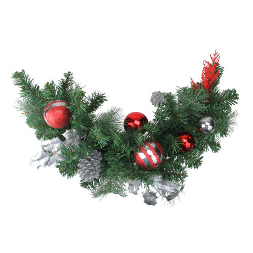 """26"""" Red Pine Cone and Ornaments Artificial Christmas Swag - Unlit - IMAGE 1"""