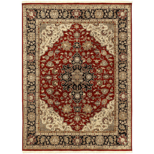 8.5' x 11.5' Floral Green and Red Hand Knotted Rectangular Wool Area Throw Rug - IMAGE 1