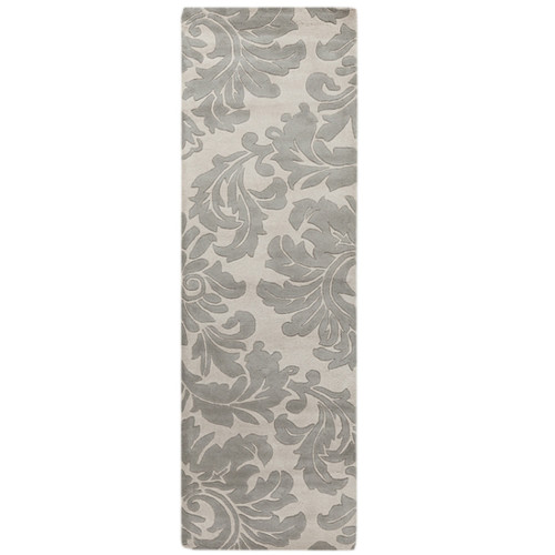 2.5' x 8' White and Gray Falling Leaves Damask Wool Area Throw Rug Runner - IMAGE 1