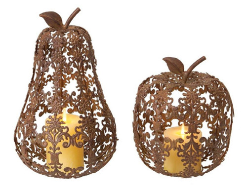 """Set of 2 Bronze Apple and Pear Thanksgiving Pillar Candle Holders 13"""" - IMAGE 1"""