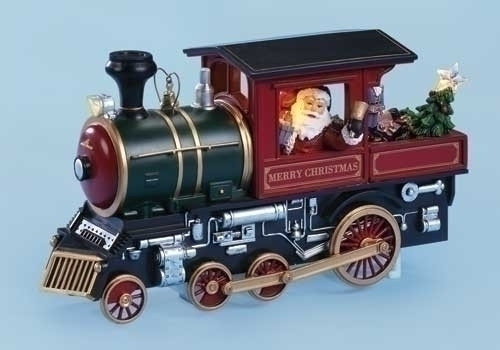 """10"""" Red Lighted and Animated Musical Merry Christmas Train Engine with Santa - IMAGE 1"""