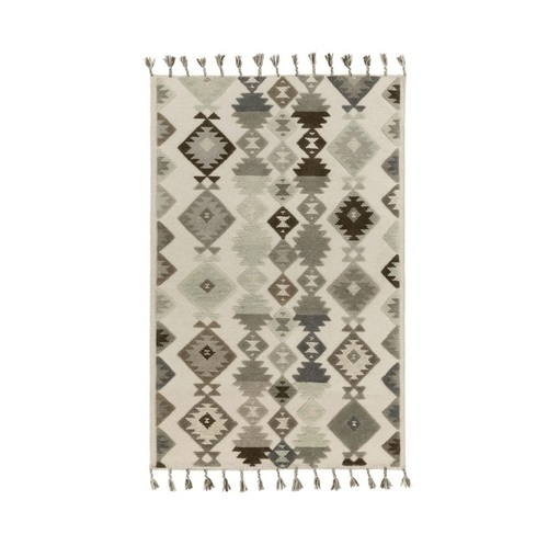 8' x 10' Iroquois Creations Beige, Slate, Off Black and Dark Black-Brown Hand Woven Area Throw Rug - IMAGE 1