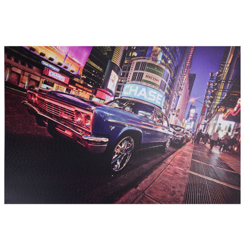 """LED Lighted NYC Times Square with Classic Chevrolet Car Canvas Wall Art 15.75"""" x 23.5"""" - IMAGE 1"""