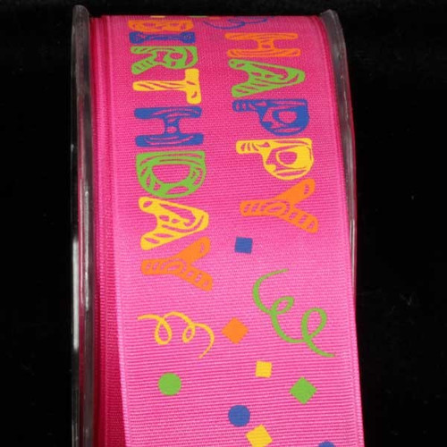 "Pink ""Happy Birthday"" Wired Craft Ribbon 1.5"" x 27 Yards - IMAGE 1"