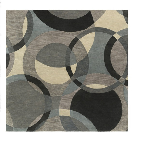 6' x 6' Senzei Spheres Gray and Black Hand Tufted Square Wool Area Throw Rug - IMAGE 1