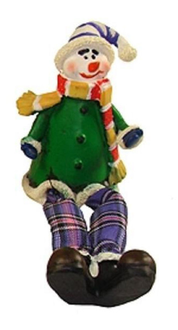 "5.5"" Green and Purple Plaid Sitting Snowman Christmas Tabletop Figurine - IMAGE 1"