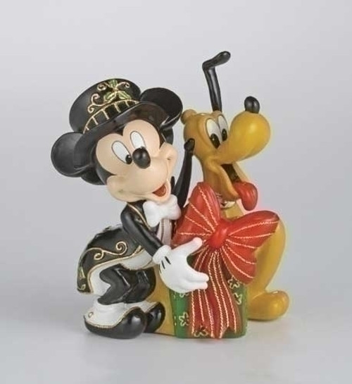 "6"" Black Lighted Cloisonne Mickey and Pluto with Gift Christmas Figure - IMAGE 1"
