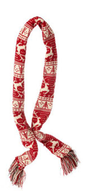 """59"""" Alpine Chic Red and Cream Knit Reindeer and Tree Nordic Design Christmas Scarf Ornament - IMAGE 1"""