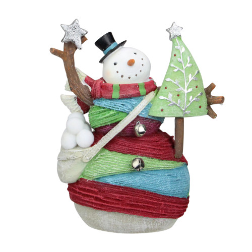 "6.75"" Striped Yarn Wrapped Snowman with Tree Christmas Figure Decoration - IMAGE 1"