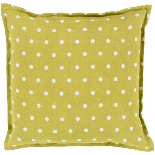 "18"" Green and White Polka Dots Square Contemporary Throw Pillow - Down Filler - IMAGE 1"