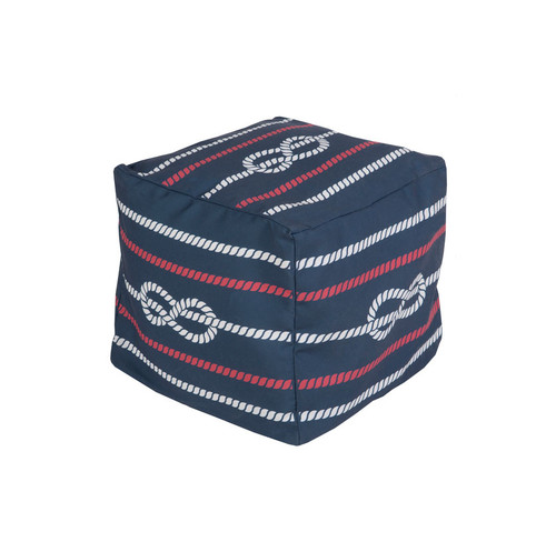 "18"" Cobalt Blue, Cardinal Red and Ivory Knotted Rope Square Outdoor Patio Pouf Ottoman - IMAGE 1"