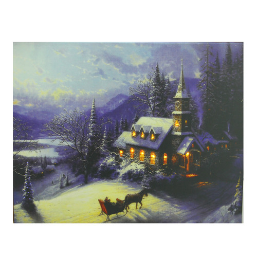 """LED Lighted Church in Wintry Woods Canvas Wall Art 15.75"""" x 19.75"""" - IMAGE 1"""