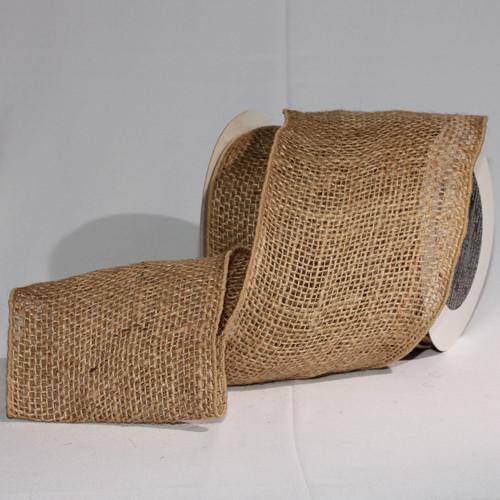 "Natural Brown Burlap Wired Craft Ribbon 5"" x 10 Yards - IMAGE 1"