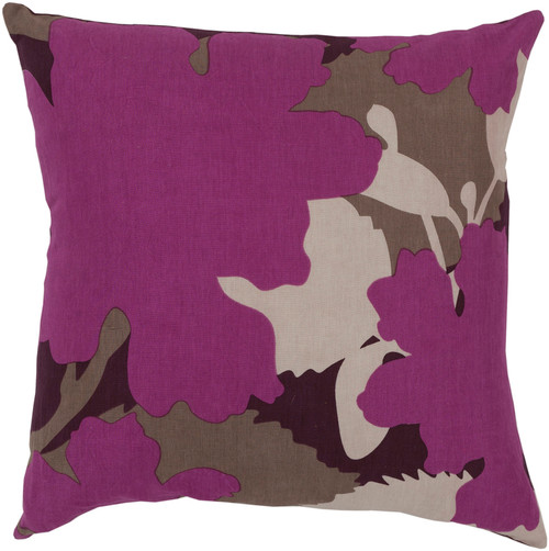 """22"""" Purple and Beige Floral Camouflage Square Throw Pillow - Down Filler - IMAGE 1"""