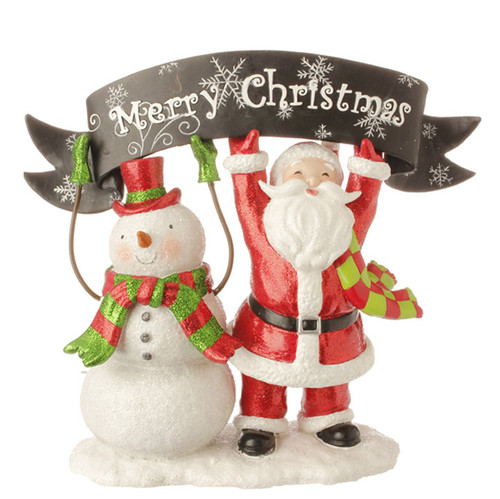 """10.5"""" Red and White Snowman with Santa Claus Tabletop Decor - IMAGE 1"""