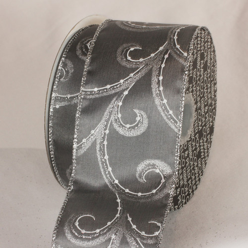 Glitter Pewter Gray and Silver Swirly Whirl Wired Craft Ribbon 2.5 x 40 Yards - IMAGE 1