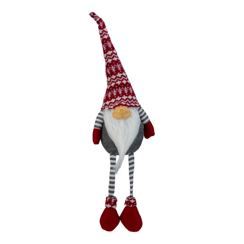 "24"" Gray and Red Smiling Dangling Leg Christmas Gnome Decoration - IMAGE 1"