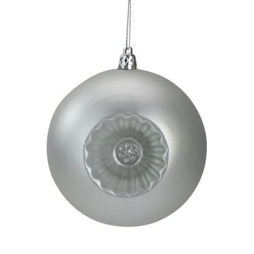 "6ct Silver Shatterproof Matte Retro Reflector Christmas Ball Ornaments 4"" (100mm) - IMAGE 1"