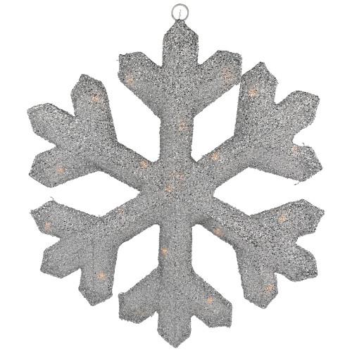 "20"" Silver Lighted Tinsel Christmas Snowflake Window Decor - IMAGE 1"