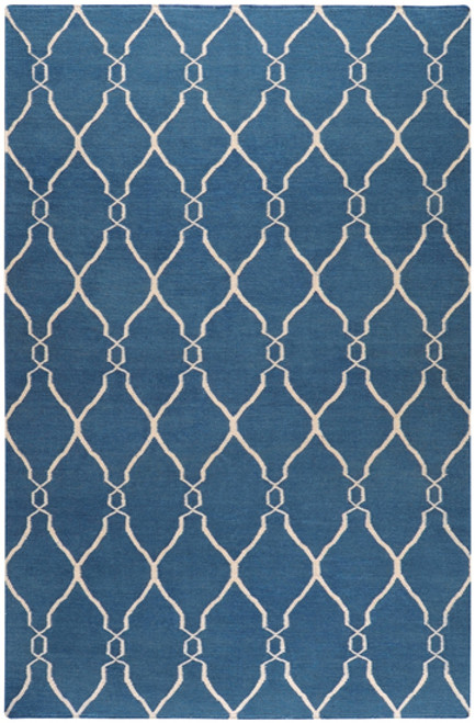 8' Blue and Beige Damask Hand Tufted Wool Area Throw Rug - IMAGE 1
