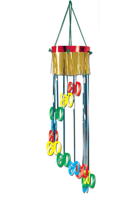 """Pack of 12 Shimmering Metallic """"60th"""" Birthday Spiral Hanging Party Decorations 40"""" - IMAGE 1"""