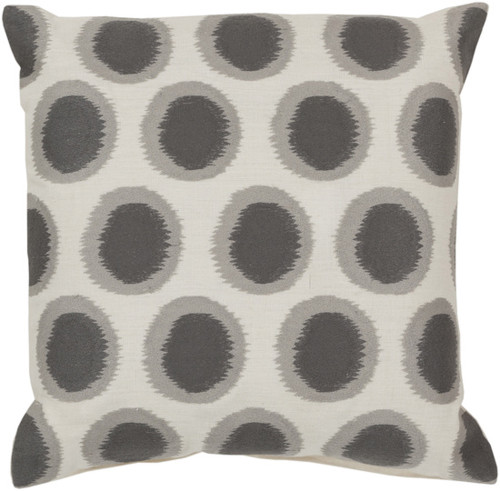 "22"" Cream White and Smoke Gray Contemporary Square Throw Pillow - IMAGE 1"