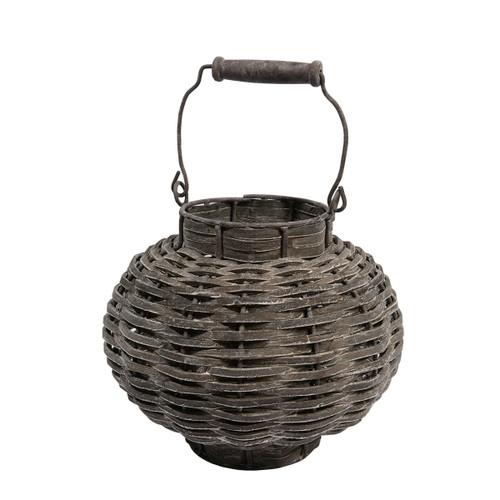 "11.5"" Beach Day Weathered Dark Gray Woven Wood Votive Candle Lantern - IMAGE 1"