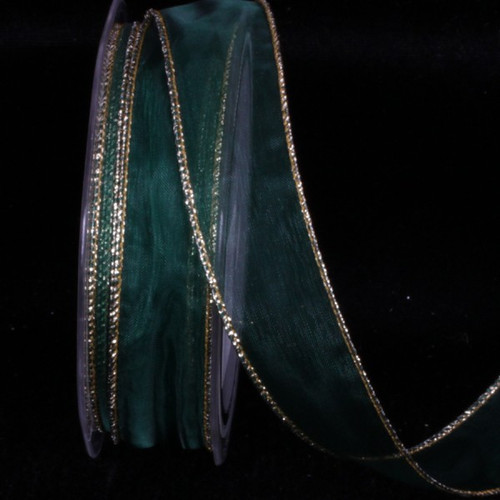 """Green and Gold Organza Edge Wired Craft Ribbon 1"""" x 54 Yards - IMAGE 1"""