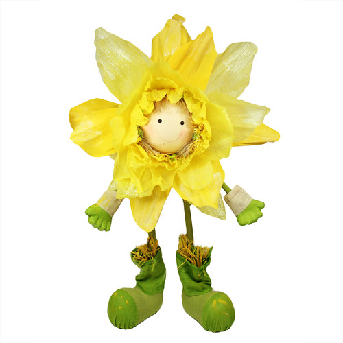 """47"""" Yellow and Green Spring Floral Standing Sunflower Girl Decorative Figure - IMAGE 1"""