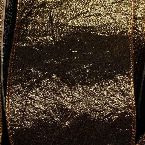 "Gold Crush Wired Edge Craft Ribbon 2.5"" x 20 Yards - IMAGE 1"